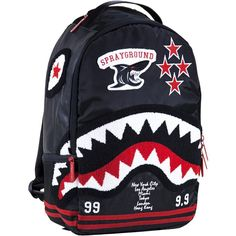 Sprayground Varsity Shark Backpack (black / red) Jansport Backpack, Mini Backpack, Black Backpack, Backpack Bags, Fashion Bags, Fashion Backpack, Bape Outfits, Off White Bag, Men Accesories