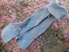 The scarf may be knit in any suitable yarn to any length.