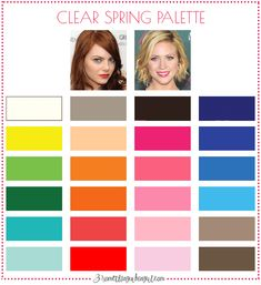 Best colors for Clear Spring seasonal women; Clear Spring color palette   #ClearSpring #colorpalette