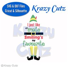 digital download file.  Christmas Elf, I like to Smile Smilings My Favourite, SVG and DXF file for cutting Machines like Cricut and Silhouette.  You will receive the following formats SVG, DXF, EPS, PNG, JPEG  Terms of use: *You may use this deisgn file for both personal and small handmade business commerical use. *You may not use it in mass production. *You may not upload the design to sharing websites or groups. *You may not digitize this file for embroidery.  If you have any questions…