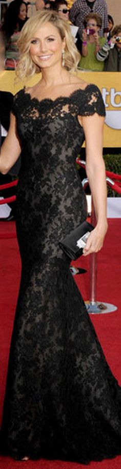 Red Carpet fashion dress - Keibler was a safe bet in a lace off-the-shoulder Marchesa gown.    jαɢlαdy