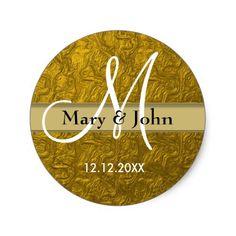 Glitter Gold Wedding Monogram Seals