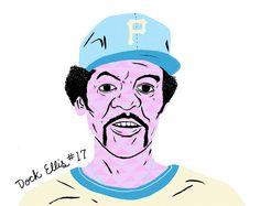 Dock Ellis - Mid-70's Baseball Dudes by Paul Windle