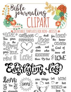 Bible journaling printable clipart for non-artists. Just PRINT & TRACE!