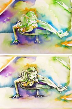 How to add charcoal to negative watercolour yoga paintings for deeper shadows - the art of flying Aerial Classes, Yoga Painting, Watercolor Paintings, Original Paintings, Pastel Pencils, Online Yoga, Chalk Pastels, New Artists, How To Do Yoga