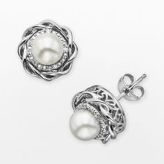 Simply Vera Vera Wang Sterling Silver Freshwater Cultured Pearl & Diamond Accent Twist Stud Earrings