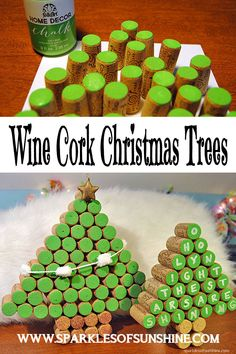 This is such a fun Christmas project...wine cork Christmas trees! Looking for a way to get rid of your wine corks? Check out these easy to make wine cork Christmas trees at Sparkles of Sunshine!