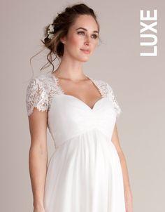 d9b962cb128a4 Robe longue de mariée grossesse en soie et en dentelle - Ivoire | Seraphine Wedding  Dresses