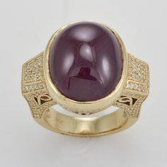 14k Yellow Gold Ladies Ruby and Diamond Ring - Size 5.6 #Unbranded #SolitairewithAccents