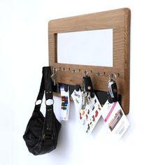 Miroir – tableau – accroche-clés en bois NB001