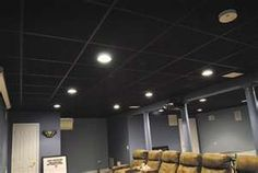 I love the gray walls and black drop ceiling.  Can't wait to get started on our basement theater!