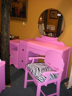 Painted Furniture by Second Chance Furniture. Hot pink vanity and chair with zebra print. <3