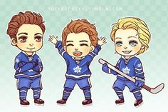 ( The perfect (and cutely drawn) representation of Auston Matthews, Mitch Marner, and William Nylander. Loved how we knew who they were before even reading it :). All three signed jerseys. Hockey Teams, Hockey Players, Ice Hockey, Toronto Maple Leafs Logo, William Nylander, Mitch Marner, Maple Leafs Hockey, Funny Games, Nhl