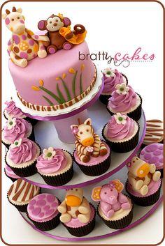 Baby Safari Animal Tower by Natty-Cakes (Natalie), via Flickr
