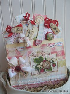 Farm fresh stitched handmade pocket full of country cottage tags gift treat bag decoration