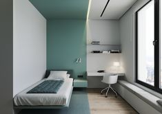 Lime Rock on Behance Small Room Design, Home Room Design, Kids Room Design, Bed Design, Home Interior Design, House Design, Design Art, Single Bedroom, Small Room Bedroom