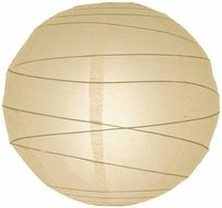 """8"""" Beige / Ivory Round Paper Lantern, Crisscross Ribbing, Hanging  (Light Not Included)"""