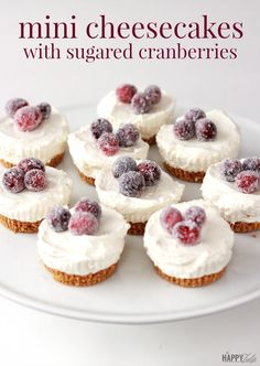 Mini Cheesecakes with Sugared Cranberries - no baking required.