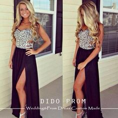 gorgeous black and sliver prom dress