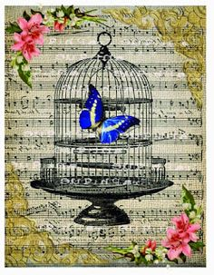 Vintage sheet music with butterfly and bird cage background