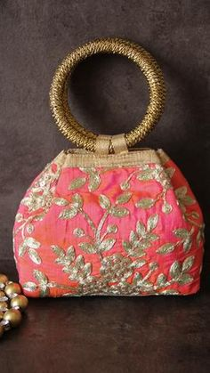 Ethnic Coral and Gold Clutch Party Bag Potli Bags, Ethnic Bag, Handbag Stores, Coral And Gold, Beaded Purses, Gold Clutch, Clutch Bag, Handmade Bags, Hand Bags Designer