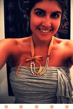 Pearl and ribbon necklace tutorial must try! find #diyjewelrysupplies at www.eCrafty.com
