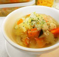 *朝食に*きのこ入り食べる野菜スープ*
