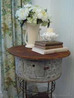 galvanized bucket idea for DIY shabby chic rustic French country decor idea