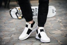 Mens Casual Laceless Elastic Sneakers
