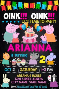 Items similar to CUSTOM Peppa Pig Birthday Party Printables / Banner / Cupcake Toppers / Juice Box Wraps / Table Tents / Favor Tags / Muddy Puddle / Fairy on Etsy Peppa Pig Birthday Invitations, Pig Birthday Cakes, 3rd Birthday Parties, Birthday Party Decorations, Third Birthday, Daughter Birthday, Special Birthday, Birthday Celebration, Invitacion Peppa Pig
