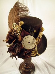 Steampunk Brown Tall Riding Hat with Skeletons by JillieKatHats, $79.00