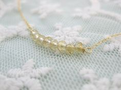Crystalline Delicate gold czech crystal beads necklace by beadpod8, $25.00