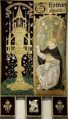 St Aquinas's love for the Eucharistic - Tapesty by Lawrence OP