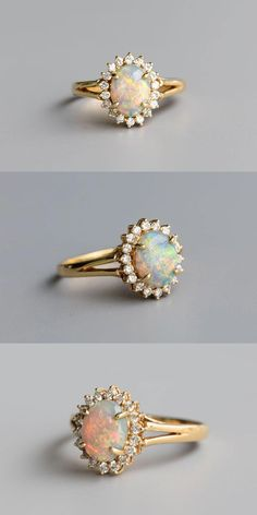 The Opal Hues in Beautiful Rainbow Colors and also Surround by 18 VVS Quality Diamonds in a Yellow Gold Setting. Free Gift Bag/Box with every order! Wedding Rings Simple, Beautiful Wedding Rings, Wedding Rings Vintage, Diamond Wedding Rings, Bridal Rings, Unique Rings, Wedding Jewelry, Solitaire Diamond, Vintage Engagement Rings Opal