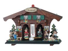 Loon Peak Deluxe weather house with thermometer on fair and dry days the woman comes out and on damp and rainy days the man comes out. Outdoor Wall Clocks, Outdoor Walls, Weather Radio, Rain Gauge, Williams Street, Whitehall Products, Evergreen Flags, Cardinal Birds, Black Forest