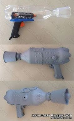 retro raygun out of junk prop build. Because maybe some Halloween, I'll want… retro raygun out of junk prop build. Because maybe some Halloween, I'll want to be some kind of Barbarella.Awesome DIY bottle Gun Super Easy - COSPLAY IS BAEEE! Steam Punk Diy, Cosplay Tutorial, Cosplay Diy, Cosplay Costumes, Cosplay Ideas, Comic Con Costumes, Steampunk Weapons, Steampunk Costume, Cool Diy