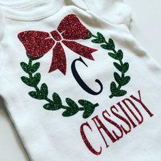 Christmas Monogram Onesie by Cassidy's Closet @ www.cassidysshop.com LOVE how…