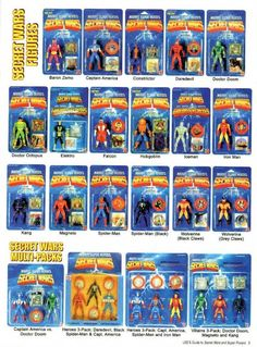 Marvel Secret Wars Toys from the mid I never had any of these, but it would be an interesting toyline to have in my collection. Gi Joe, Retro Toys, Vintage Toys, Childhood Toys, Childhood Memories, Marvel Secret Wars, Classic Toys, Old Toys, Comic Character