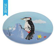 Melamine Plate Woodpecker | DotComGiftShop