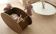 A stunningly sleek and modern bassinet / cradle. It's design could work in a modern nursery, but could work itself into a more transitional design too. Project Nursery, Nursery Decor, Wood Nursery, Nursery Furniture, Nursery Design, Cool Mom Picks, Baby Bassinet, Baby Cribs, Third Baby