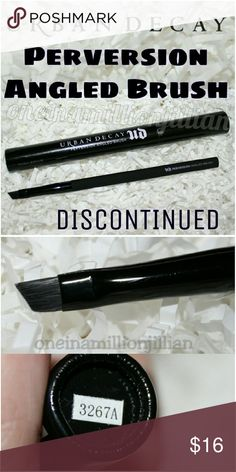 🎁 Urban Decay Perversion Angled Brush DISCONTINUED & NO LONGER SOLD  New in Box  Full Sz & Authentic  A small brush with a perfectly angled shape & thickness, making it ideal for creating super-precise lines & giving you a ton of control. Its diameter variation provides more surface area for optimal pickup & lay-down. The brush hair, made from a material derived from recycled PBT plastic bottles so it?s vegan & cruelty-free, is supersoft & won?t hold onto bacteria like animal hair brushes…