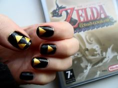 Zelda Nail Art by: ras-blackfire on deviantART. Cool to maybe put the full triforce as the accent nail??