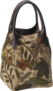 Box bag lovely shape with felted leaf body and leather handles                                                                                                                                                      More