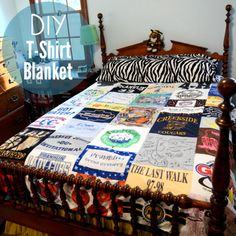 DIY T-Shirt Quilt. I posted another T-Shirt Quilt here, but I like how this tutorial uses a blanket and fusible interfacing. Tutorial from Stars for Streelights here.