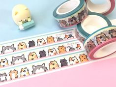 12 little cats and kitties lined up to decorate this super cute cat washi tape! Apparently one of them is looking for a mouse on the floor or something - but who doesn't like a little kitty butt? ;3 The Kitties are excited to help you decorate your letters, packaging, scrapbooks or other craft projects! The washi tape is 15mm x 10m*Please note: The listing is for one roll!*
