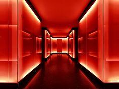 By Claudia Leverentz Neon Aesthetic, Orange Aesthetic, I See Red, Neon Room, Interior Architecture, Interior Design, Decoration Originale, Red Wallpaper, Red Rooms