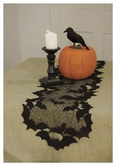 Bat  and Spider Web Table or Mantle Runner #halloween #decor