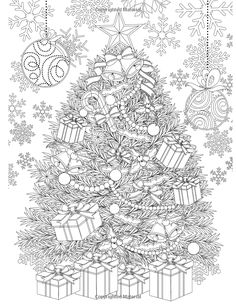 Christmas tree // Adult Coloring Book: Magic Christmas : for Relaxation Meditation Blessing: Cherina Coloring Pages For Grown Ups, Coloring Book Pages, Printable Coloring Pages, Coloring Sheets, Christmas Colors, Christmas Art, Magical Christmas, Christmas Classics, Christmas Ornaments