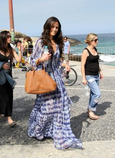 Jordana Brewster with her Hermes Garden Party Tote