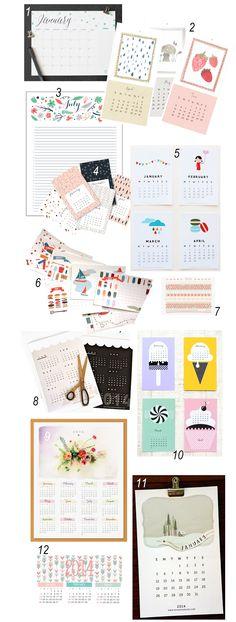 12 Pretty, Printable & Free 2014 Calendars